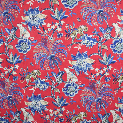S3134 Poppy Fabric: M03, ANIMAL, NOVELTY, FLORAL, PRINT, RED, BLUE, FAUX LINEN