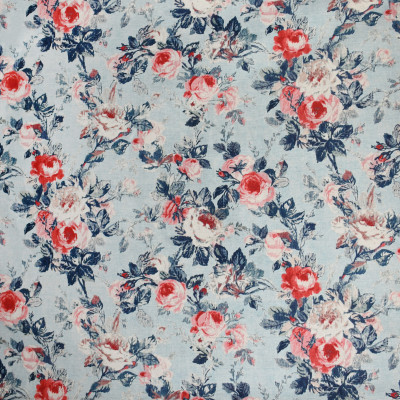 S3138 Chambray Fabric: M03, FLORAL, PRINT, FAUX LINEN, BLUE, RED, CHAMBRAY