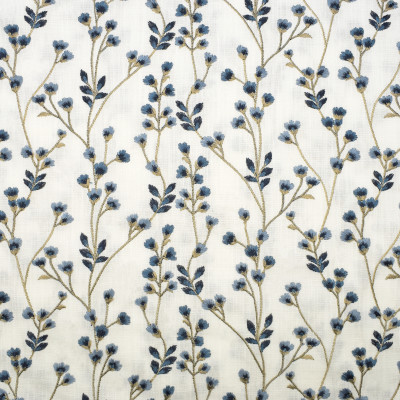 S3141 Bluebell Fabric: M03, FLORAL, FOLIAGE, EMBROIDERY, WINDOW, BLUE, BLUEBELL