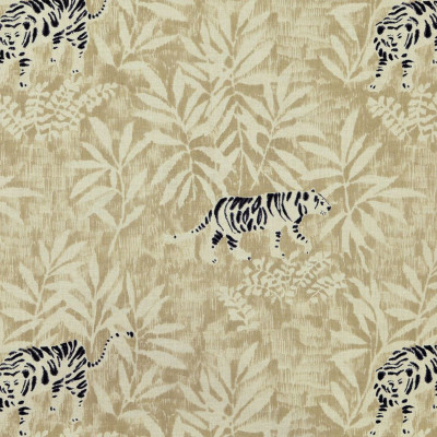 S3156 Linen Fabric: M03, ANIMAL, NOVELTY, ASIAN, FOLIAGE, PRINT, NEUTRAL, BLACK
