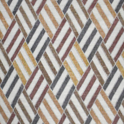 S3170 Rustic Fabric: M03, DIAMOND, GEOMETRIC, CONTEMPORARY, PRINT, NEUTRAL, RED, BROWN, RUSTIC