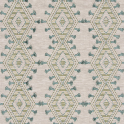S3182 Greenery Fabric: M03, DIAMOND, GEOMETRIC, CONTEMPORARY, EMBROIDERY, WINDOW, GREEN, TEAL