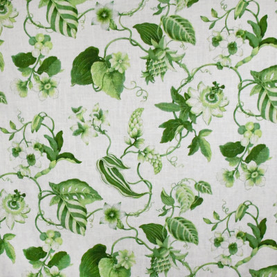 S3187 Lime Fabric: M03, FLORAL, PRINT, FAUX LINEN, MADE IN USA, GREEN, LIME