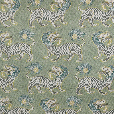 S3194 Bonsai Fabric: M03, ANIMAL, NOVELTY, WOVEN, GREEN, DRAGON, BONSAI