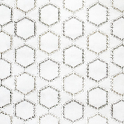 S3196 Marble Fabric: M03, MEDALLION, OGEE, GEOMETRIC, EMBROIDERY, WINDOW, NEUTRAL
