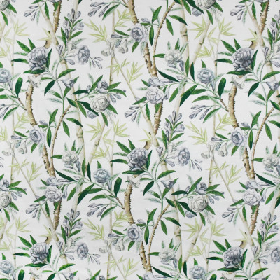 S3197 White Tea Fabric: M03, FLORAL, FOLIAGE, PRINT, GRAY, GREY, GREEN, COTTON, 100% COTTON, COTTON PRINT
