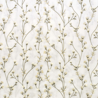 S3223 Snowflake Fabric: M03, FLORAL, FOLIAGE, EMBROIDERY, WINDOW, WHITE