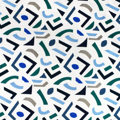 S3400 Horizon Fabric: M04, ANNA ELISABETH, GEOMETRIC, CONTEMPORARY, EMBROIDERY, TEXTURE, BLUE, TEAL, APPLIQUE
