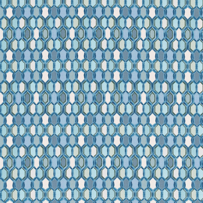 S3401 Blu Fabric: M04, ANNA ELISABETH, GEOMETRIC, CONTEMPORARY, PRINT, BLUE, GREEN, STAINED GLASS, TILE