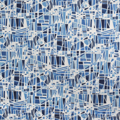 S3403 Blue Fabric: M04, ANNA ELISABETH, GEOMETRIC, CONTEMPORARY, PRINT, BLUE, KALEIDOSCOPE, TILE