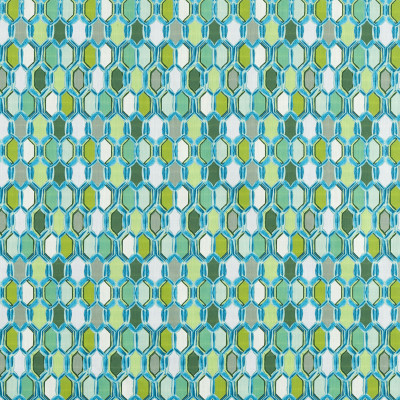 S3408 Peridot Fabric: M04, ANNA ELISABETH, GEOMETRIC, CONTEMPORARY, PRINT, TEAL, GREEN, STAINED GLASS, TILE, PERIDOT