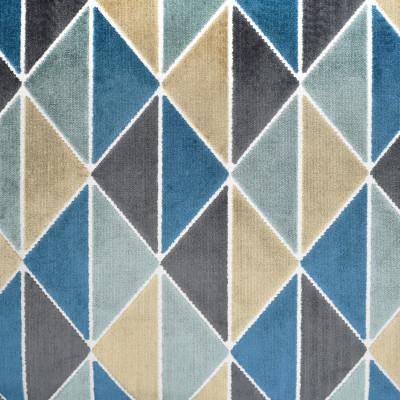 S3409 Aegean Fabric: M04, ANNA ELISABETH, GEOMETRIC, VELVET, CUT VELVET, TEXTURE, TEAL, AEGEAN, TRIANGLES