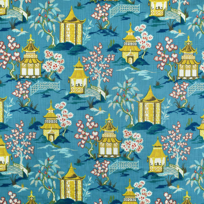 S3410 Azure Fabric: M04, ANNA ELISABETH, ASIAN, TOILE, PRINT, COTTON, COTTON PRINT, 100% COTTON, BLUE, YELLOW, RED, MULTI, AZURE