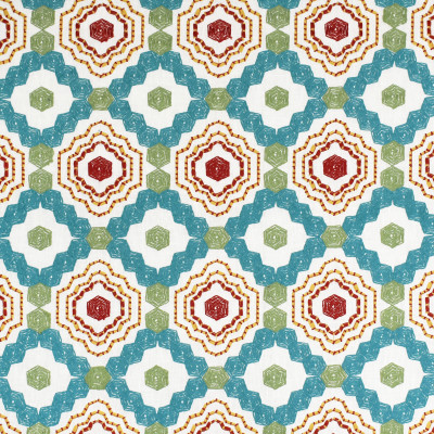 S3411 Turquoise Fabric: M04, ANNA ELISABETH, GEOMETRIC, MEDALLION, EMBROIDERY, TEXTURE, APPLIQUE, TEAL, RED, MULTI, TURQUOISE