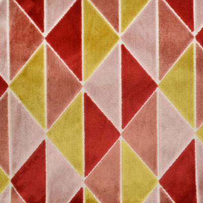 S3423 Berry Fabric: M04, ANNA ELISABETH, GEOMETRIC, TRIANGLES, VELVET, CUT VELVET, TEXTURE, PINK, RED, YELLOW, BERRY