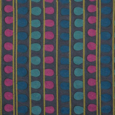 S3426 Mars Fabric: M04, ANNA ELISABETH, CONTEMPORARY, DOT, STRIPE, EMBROIDERY, WINDOW, PURPLE, GOLD, BLUE, MULTI