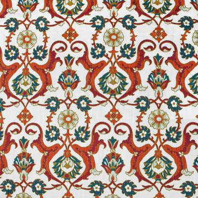 S3428 Vermillion Fabric: M04, ANNA ELISABETH, FLORAL, MEDALLION, PRINT, ORANGE, PINK, TEAL, MULTI