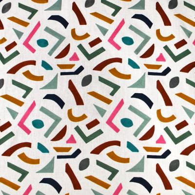 S3441 Confetti Fabric: M04, ANNA ELISABETH, GEOMETRIC, CONTEMPORARY, EMBROIDERY, TEXTURE, CONFETTI, MULTI, ORANGE, GREEN, GOLD, BLUE, APPLIQUE