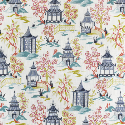 S3442 Summer Fabric: M04, ANNA ELISABETH, ASIAN, TOILE, PRINT, COTTON, COTTON PRINT, 100% COTTON, BLUE, PINK, CITRON