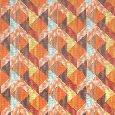 S3444 Orange Crush Fabric: M04, ANNA ELISABETH, GEOMETRIC, MATELASSE, WOVEN, ORANGE, BLUE, MULTI