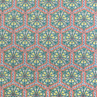 S3446 Garden Fabric: M04, ANNA ELISABETH, MEDALLION, GEOMETRIC, PRINT, ORANGE, TEAL, YELLOW, MULTI