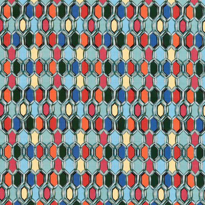 S3449 Bijou Fabric: M04, ANNA ELISABETH, GEOMETRIC, CONTEMPORARY, PRINT, BLUE, GREEN, PINK, RED, MULTI, STAINED GLASS, TILE
