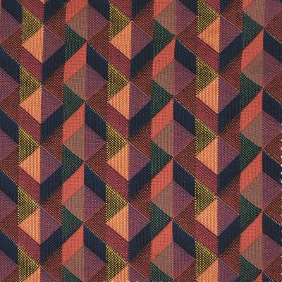 S3450 Fiesta Fabric: M04, ANNA ELISABETH, GEOMETRIC, MATELASSE, WOVEN, ORANGE, PURPLE, BLUE, MULTI
