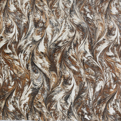 S3591 Latte Fabric: M05, CONTEMPORARY, PEACOCK, FEATHERS, PRINT, CHENILLE, NEUTRAL, BROWN, LATTE