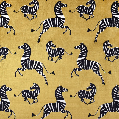 S3594 Saffron Fabric: M05, ANIMAL, ZEBRA, VELVET, CUT VELVET, TEXTURE, GOLD, SAFFRON