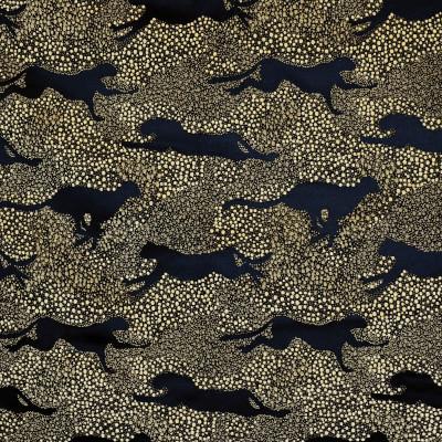 S3607 Ebony Fabric: M05, ANIMAL, DOT, SATIN, CHENILLE, BLACK, EBONY