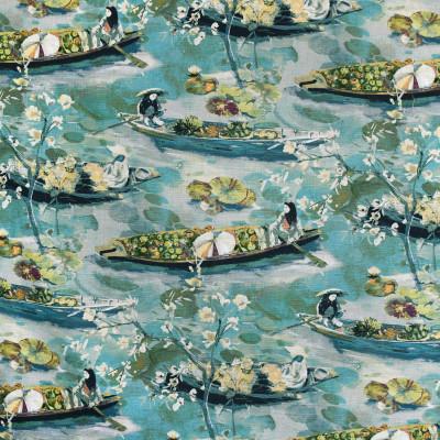 S3615 Lagoon Fabric: M05, ASIAN, TOILE, PRINT, TEAL, GREEN, LAGOON