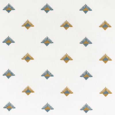 S3618 Turquoise Fabric: M05, DITSY, GEOMETRIC, EMBROIDERY, BLUE, GOLD, TURQUOISE