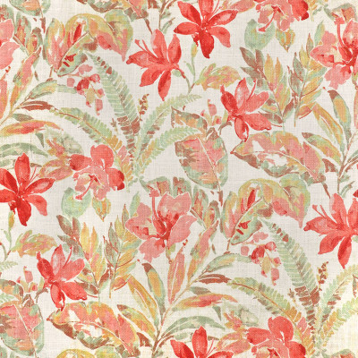 S3625 Coral Fabric: M05, FLORAL, PRINT, CORAL, PINK, GREEN, TROPICAL, BEACH