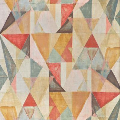 S3627 Rosewood Fabric: M05, GEOMETRIC, PRINT, PINK, BLUE, ORANGE, ROSEWOOD