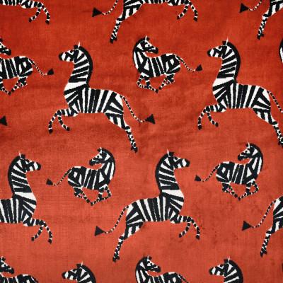 S3636 Garnet Fabric: M05, ANIMAL, ZEBRA, VELVET, CUT VELVET, TEXTURE, RED, GARNET