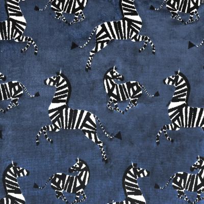 S3647 Sapphire Fabric: M05, ANIMAL, ZEBRA, VELVET, CUT VELVET, TEXTURE, BLUE, SAPPHIRE