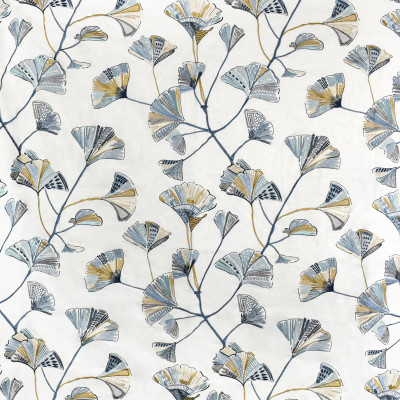 S3650 Mineral Fabric: M05, FLORAL, EMBROIDERY, BLUE, GOLD, MINERAL