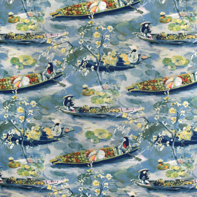 S3652 River Fabric: M05, ASIAN, TOILE, PRINT, BLUE, TEAL, RIVER