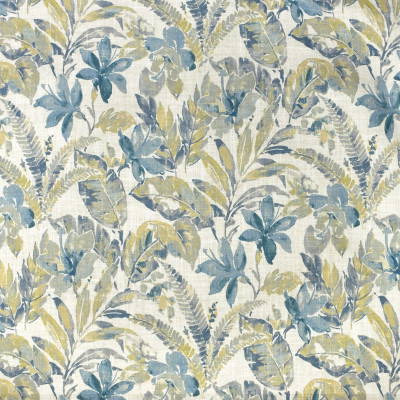 S3654 Mist Fabric: M05, FLORAL, BEACH, TROPICAL, FOLIAGE, PRINT, BLUE, GREEN, MIST
