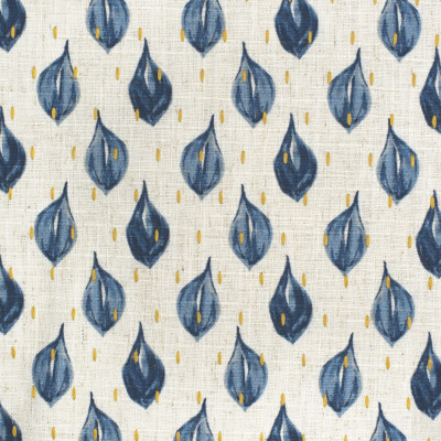 S3655 Indigo Fabric: M05, GEOMETRIC, CONTEMPORARY, PRINT, EMBROIDERY, PRINTED EMBROIDERY, BLUE, YELLOW, INDIGO