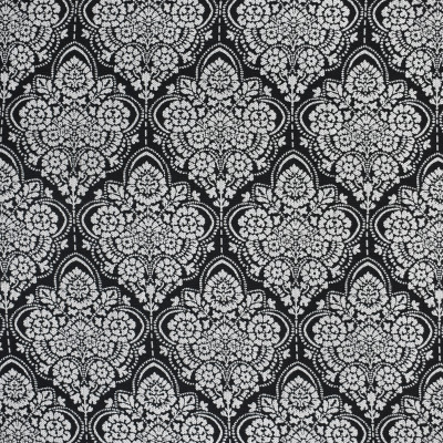 S3746 Soot Fabric: S49, MADE IN USA, CRYPTON, CRYPTON HOME, PERFORMANCE, EXCLUSIVE, MEDALLION, FLORAL, BLACK, SOOT