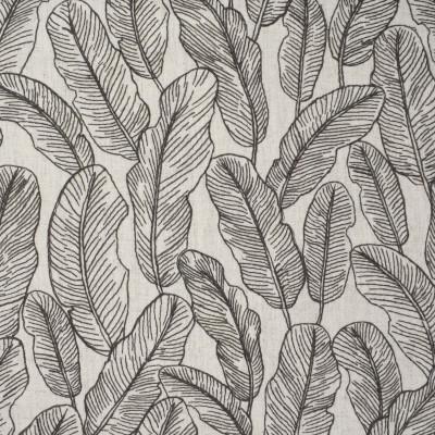 S3843 Slate Fabric: S51, FOLIAGE, LEAF, TROPICAL, EMBROIDERY, GRAY, GREY, SLATE
