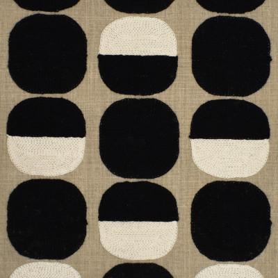 S3860 Ebony Fabric: S51, DOT, CONTEMPORARY, EMBROIDERY, BLACK, BLACK AND WHITE, EBONY
