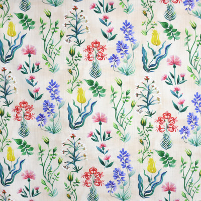 S3878 Parchment Fabric: S52, FLORAL, BOTANICAL, PRINT, PINK, BLUE, YELLOW, MULTI