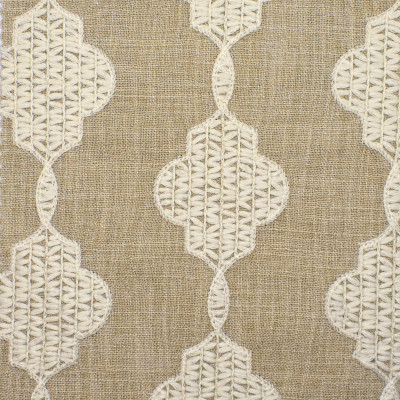S3896 Pearl Fabric: S52, MEDALLION, CONTEMPORARY, EMBROIDERY, NEUTRAL, PEARL