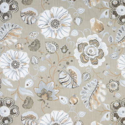 S3915 Sand Fabric: S52, FLORAL, PRINT, NEUTRAL, GRAY, GREY, SAND