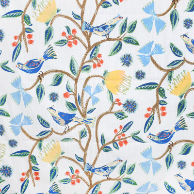 S3933 Canary Fabric: S53, FLORAL, ANIMAL, BIRD, PRINT, BLUE, YELLOW, CANARY
