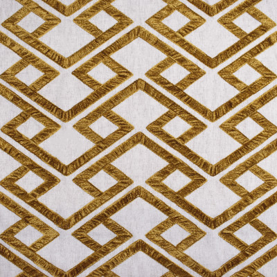 S3934 Amber Fabric: S53, GEOMETRIC, CONTEMPORARY, EMBROIDERY, CHENILLE, GOLD, YELLOW, AMBER, WINDOW