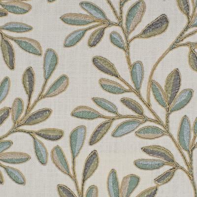 S3941 Seaglass Fabric: S53, FOLIAGE, TROPICAL, EMBROIDERY, GREEN, TEAL, SEAGLASS