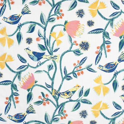 S3946 Lanai Fabric: S53, FLORAL, ANIMAL, NOVELTY, PRINT, BIRD, YELLOW, PINK, GREEN